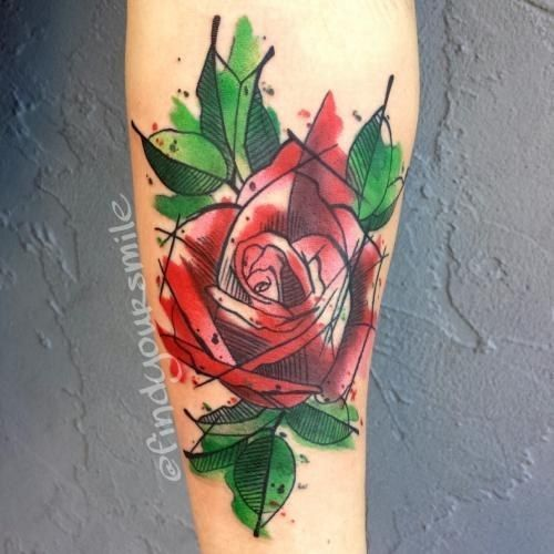 2017 trend Watercolor tattoo - Watercolor Tattoos - Rose, Artist: Russell Van Schaick, Location: Hart and Hunti...