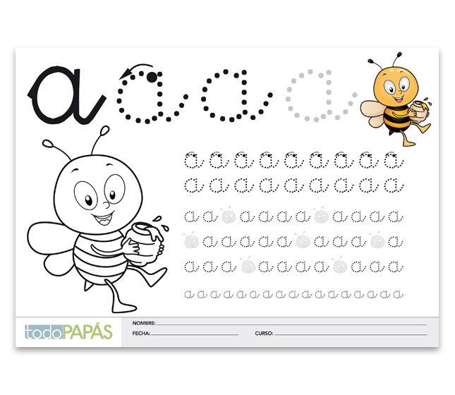 Aprender a escribir y leer la letra a minúsculas. Caligrafía para niños de preescolar y primaria para imprimir gratis la letra a minúsculas - TodoPapás