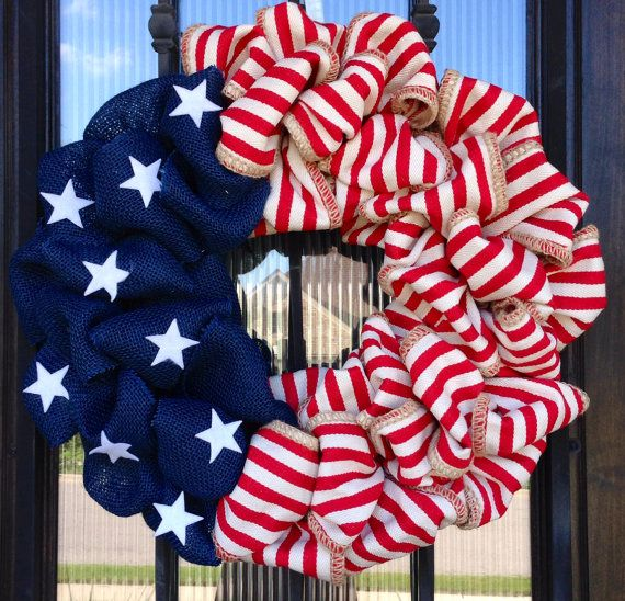 This Flag wreath is a great way to show your patriotism year round! Made of navy blue burlap and red/cream striped heavy natural fabric with white