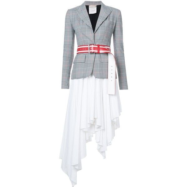 Monse two part jacket dress found on Polyvore featuring dresses, clothing /, kirna zabete, tartan plaid dress, white color dress, layered dress, plaid dress and cotton dress