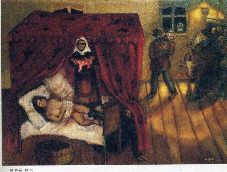 De geboorte in de vroege werken van Marc Chagall 1910 in Rusland