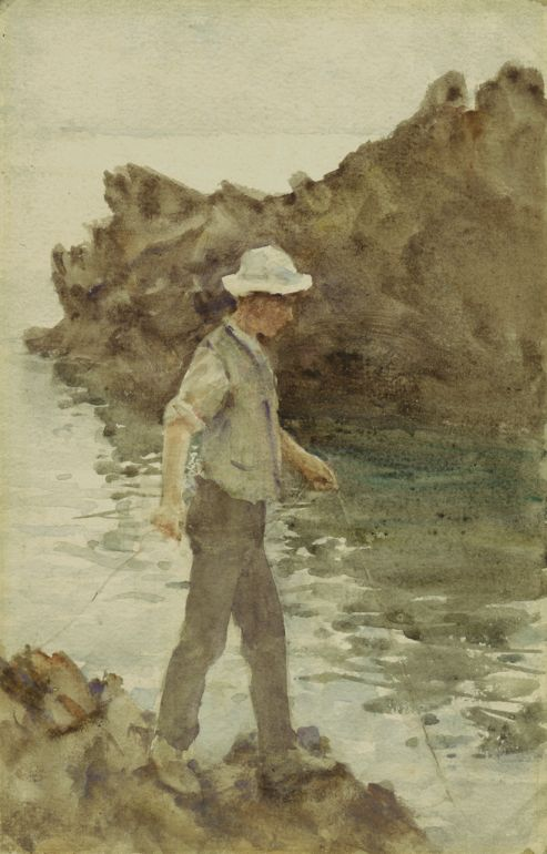 H S Tuke (or Henry Scott Tuke), lived in Falmouth, but considered as Newlyn School. This painting is in the Falmouth Art Gallery. I've heard that Elton John has a collection of Tuke's work.