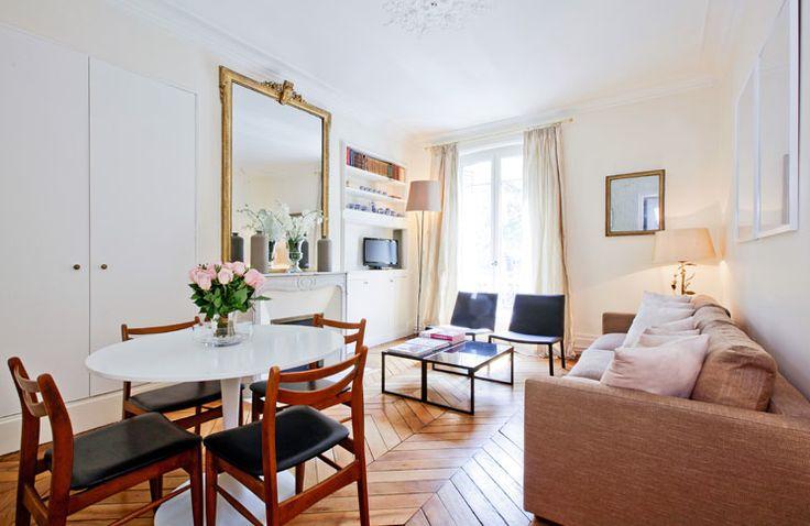 Great apartment via Haven In Paris: Spaces, Interior, Idea, Vacation, Paris Apartments, Chevron Floor, Herringbone Floors