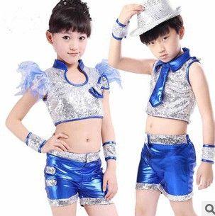 Дети производительности наборы танцевальные джаз танец костюм для маленьких девочек современные танцы костюм ребенок блестки хип-хоп топы и брюки
