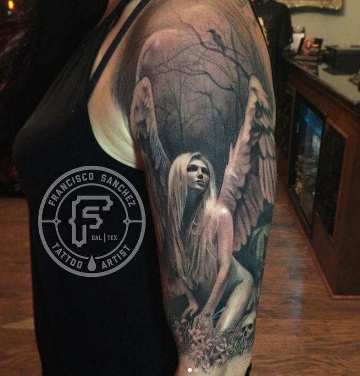 Unterarm engel tattoo frau Engel