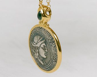 Istros greek coin pendant sterling silver coin by BermanDesigners