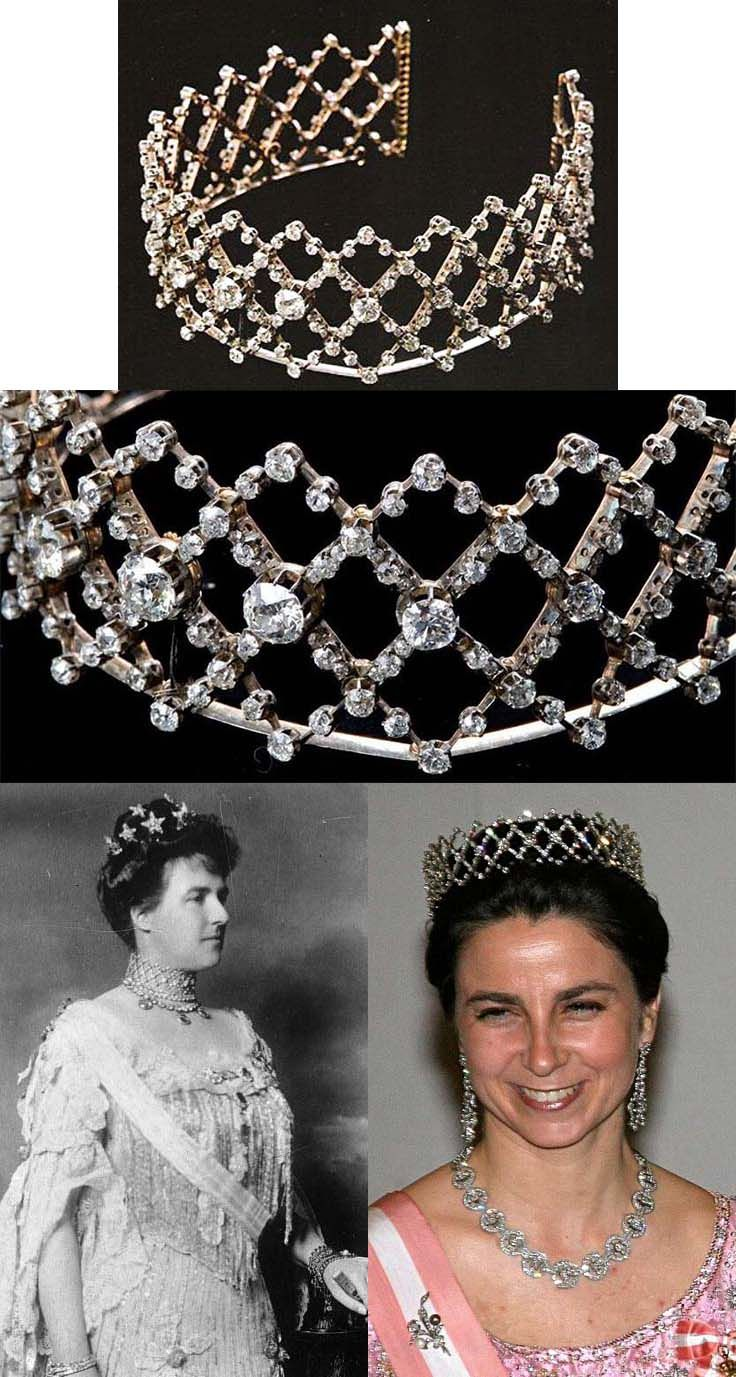 The Queen of Portugal Diamond Choker/ Tiara. In 1900 appeared in Amelia, The Queen of Portugal, collection a collier de chien set in diamonds forming lozenges. She used this jewel a lot, always as a choker and may times combined with several rivières, pearl necklaces and sapphires. When Queen died in 1951, this was one of the jewels that was left to her godson, the present Duke of Braganza. The present Duchess of Braganza started to wear this magnificent piece of jewellery as a choker.