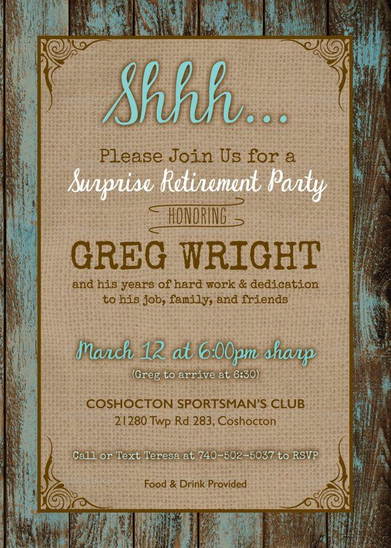 Rustic Surprise Retirement Party Invitation Digital File