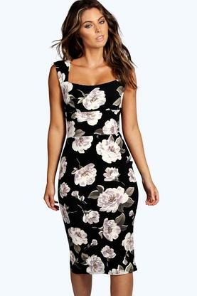 Ivy Floral Print Sweetheart Midi Bodycon Dress at boohoo.com