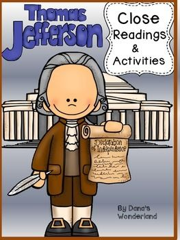 Thomas Jefferson : Thomas Jefferson - This Thomas Jefferson product  contains 3 close reading passages about Thomas Jefferson,anchor charts, and follow up activities.