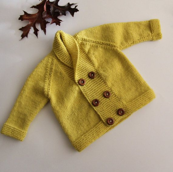 Wool baby coat hand-knitted baby coat mustard by ProjectKnitting