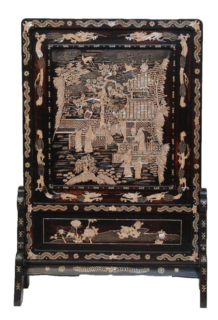 Antique japanese screens for sale - Antique Chinese Hand Crafted Palatial Lacquered Wooden Screen With Mopl Inlay 19th Century
