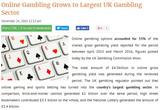 Online gambling options accounted for 33% of the overall gross #gambling yield reported for the period between April 2015 and March 2016, figures posted today by the #UK Gambling Commission show.  The total amount of £4.5billion in #online gross gambling yield was generated during the reviewed period.