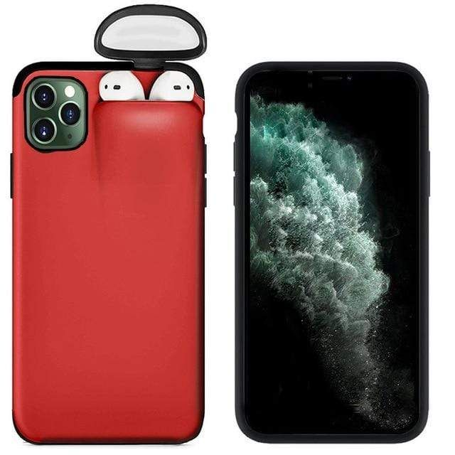 Red mushrooms on turquoise blue iPhone 11 case
