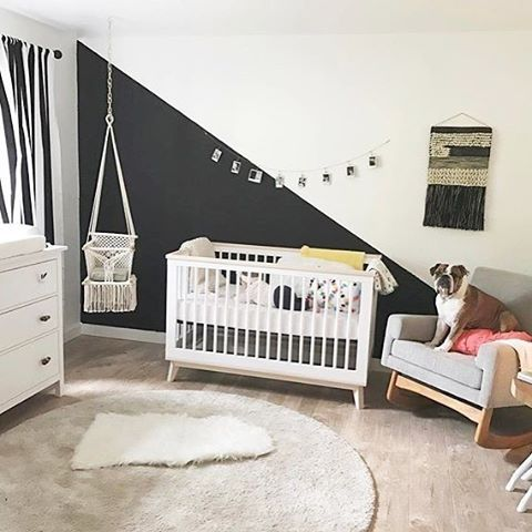 "819 Likes, 23 Comments - Project Nursery (@projectnursery) on Instagram: ""So much to love about this room - that black and white accent wall, the gorgeous swing - oh and of…"""