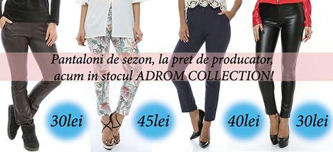 În stocul Adrom Collection se află pantaloni de sezon, confecționați din materiale groase, pentru ca tu să te simți confortabil și în același timp în ultimele tendințe ale modei!