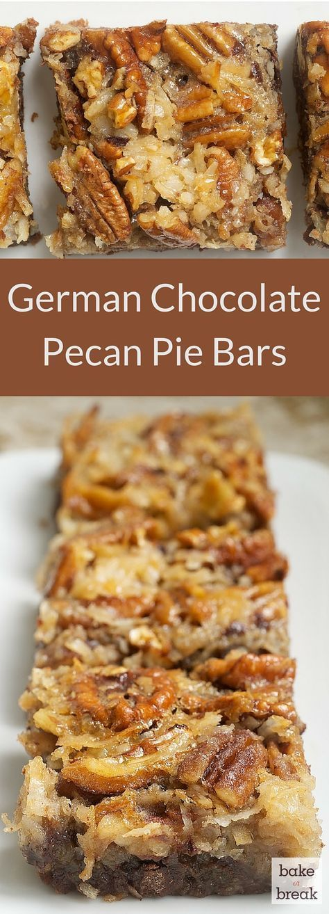 German Chocolate Pecan Pie Bars are a wonderfully delicious combination of chocolate crust, more chocolate, coconut, and pecans. A great crowd pleaser! ~ http://www.bakeorbreak.com