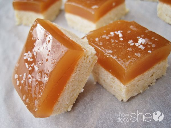Salted Caramel Shortbread Squares. So AMAZING!!! I WILL TRY THIS, with my Microwave caramel. YUM!