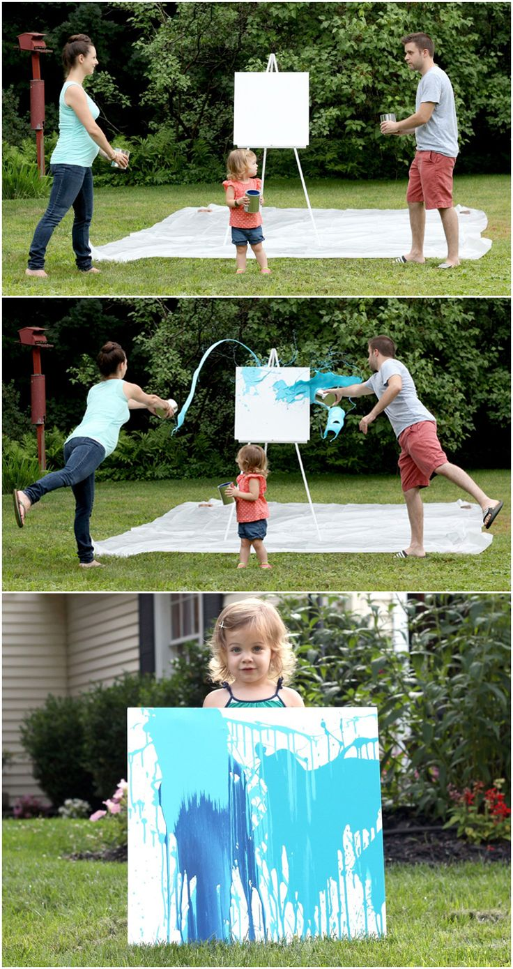 "If you've ever visited a modern art museum and thought to yourself ""hey, I could make that!"", then this gender reveal idea is for you. Throwing giant buckets of paint at a canvas with your hubby and the soon-to-be big sister is a satisfying, stress-relieving, and simple way to welcome your new baby. Wear anything but white for this project—things are about to get messy."