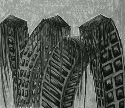 "Dead City: ""Melt Away."" Charcoal drawing by Darlene Muto / mutoart.com"