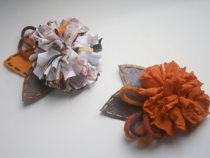 brooches-Orange cloth flowers