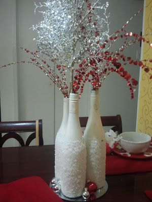 Frosted Wine Bottles - love the red and white combo for xmas.