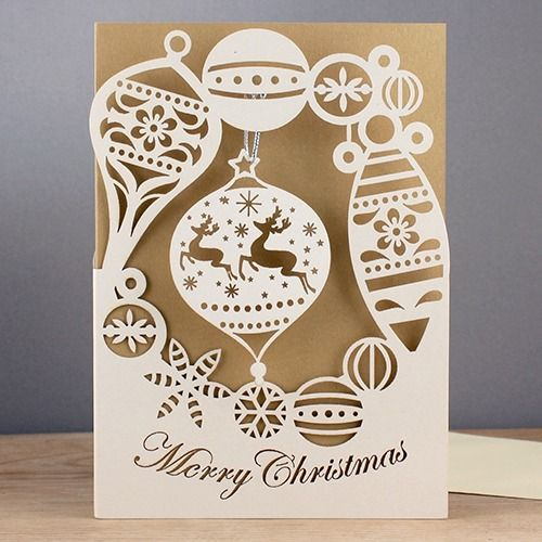 Laser Cut Christmas Cards | christmas baubles laser-cut card by alljoy