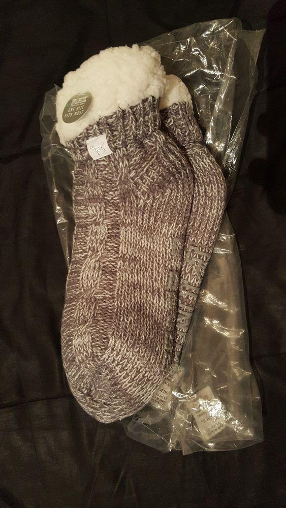 Victoria/'s Secret PINK Grey//Gray Marl//White Sherpa Lined Slipper//Socks One Size