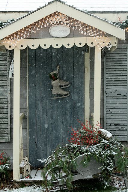 I'm doing this on my garden shed door; it is Christmas to me, reminding me of when we used to ice skate on the pond..