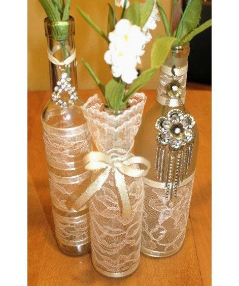 SET(3)- Decorated Wine Bottle Centerpiece Vintage Ivory, Tan & Gold. Wine Bottle Decor. Wedding Table Centerpieces. Centerpiece Ideas