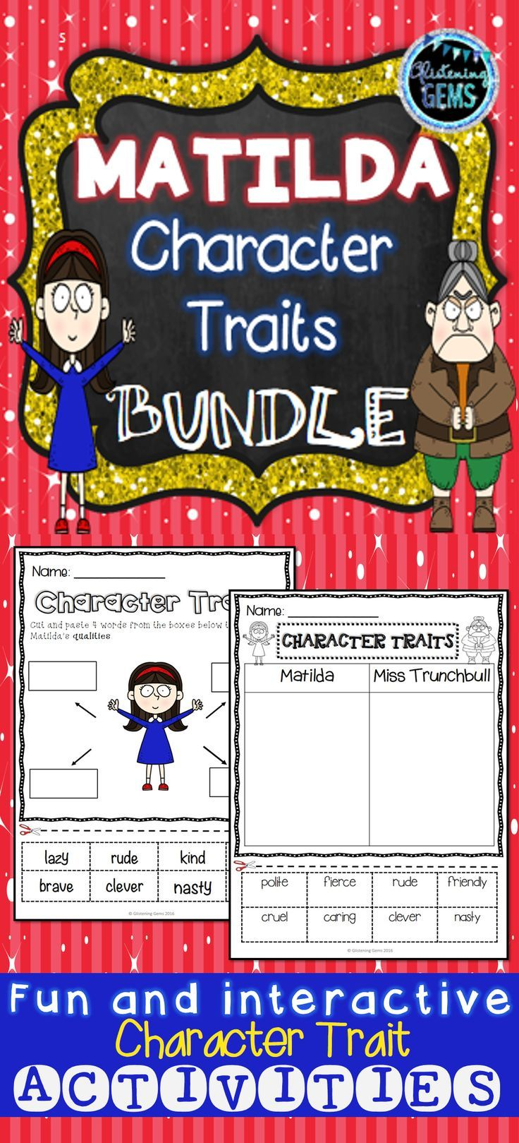 Matilda Character Traits Bundle includes a variety of fun character trait activities. Great resource to use as a book companion.