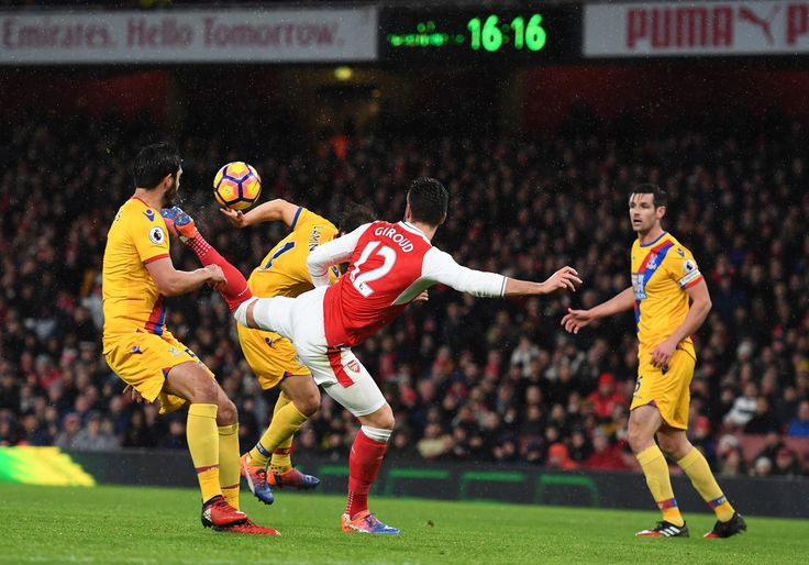 "a ""scorpion tail kick"" goal by Olivier Giroud. What a lucky goal. Arsenal 2-0 Crystal Palace (January 2017)"