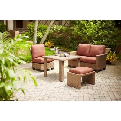 Hampton Bay Tobago 5 Piece Modular Patio Sectional Set With Burgundy Cushions 151 101 5mod V5