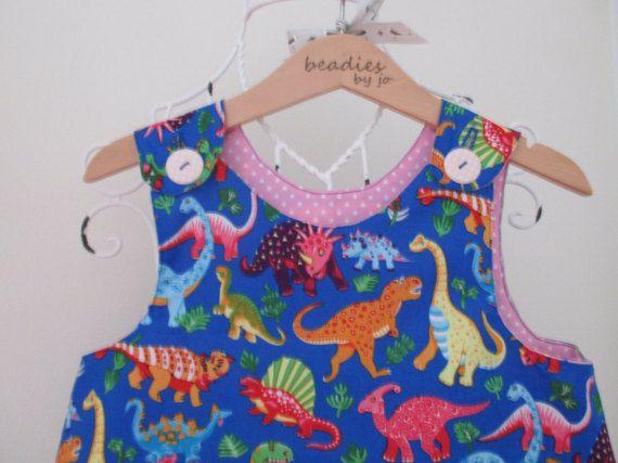 Reversible Dress girls pinafore dancing dinosaurs by beadiesbyjo