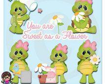 Dolce come un fiore tartarughe ClipArt Clipart grafica commerciale uso Daisy farfalla
