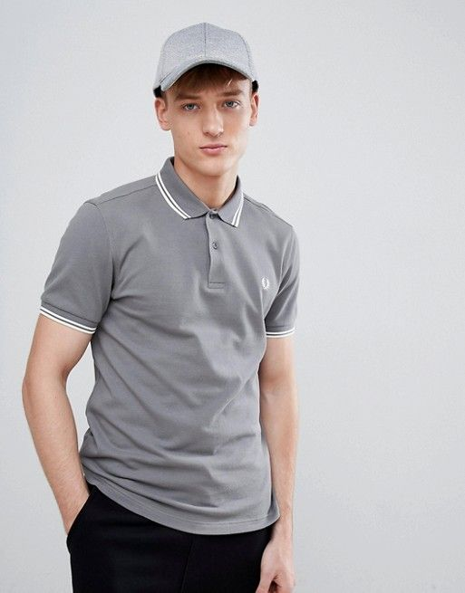293fa2633 Fred Perry Polo Shirts Men Grey Twin Tipped Polo Sale