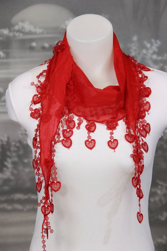 Red  Scarf Christmas Gift Accessories Cotton Scarf by MRSPOPI