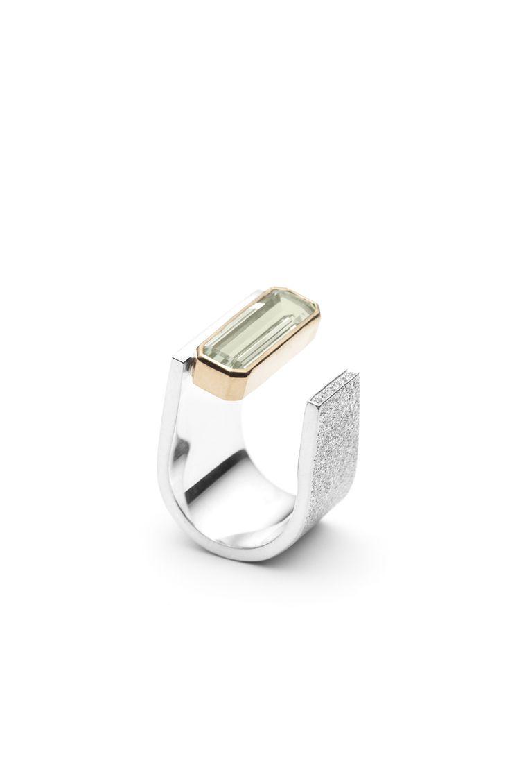 Stephanie Thibault - Vertige - Bague en argent, sertissure en or 18 K, Prasiolite et diamants