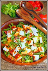 Зелёная стручковая фасоль с помидорами и жареным домашним сыром. Тест-драйв.