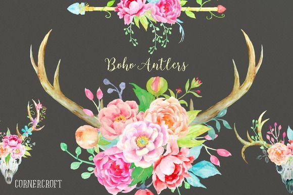 Waterolor Boho Antlers Floral Antler By Corner Croft On