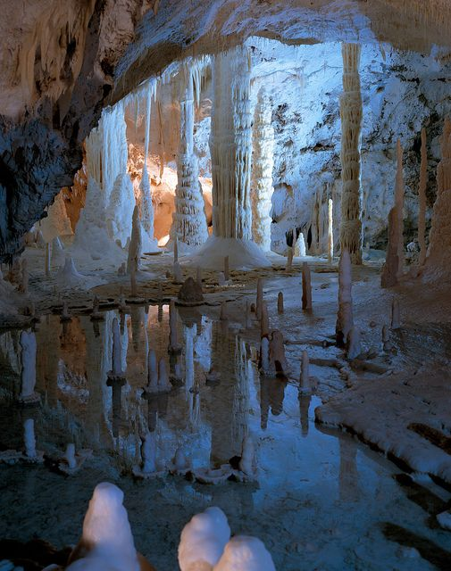 Beautiful formations inside Grotte di Frasassi, Marche, Italy