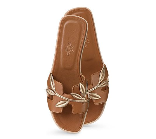 Oran Hermes ladies' sandal in Nappa calfskin and laminated Nappa calfskin, leather sole and natural lining