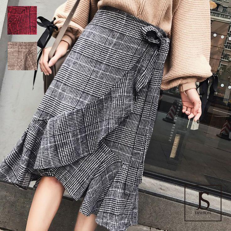 3色・グレンチェック・起毛フリルラップスカート・ロングスカート・ブラック・レッド・ブラウン・ウエストリボン・冬コーデ/フェミニン/大人可愛い/お出かけ/デート/デイリー/秋冬【180130】#JSファッション #大人カジュアル #秋冬ファッション #冬 #冬コーデ #ボトムス #スカート #ラップスカート #フリル #アシンメトリー #チェック柄 #グレンチェック #起毛 #ブラック #ぶらうん #レッド #通学 #通勤 #魅了的 #大人可愛い #フリーサイズ #大人コーデ #エレガント #愛されコーデ #かわいい #個性的 #お上品 #大人可愛い #デート #お出かけ #海外 #通販