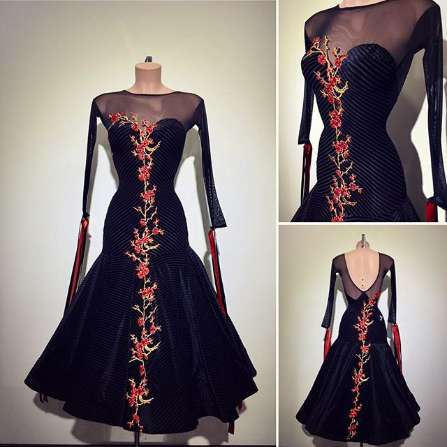 #abrahammartinez #newdress #ballroom #blacklines #flowers #red #cristal #lightsiam #swarovski #design #designer #forsale FOR SALE!!