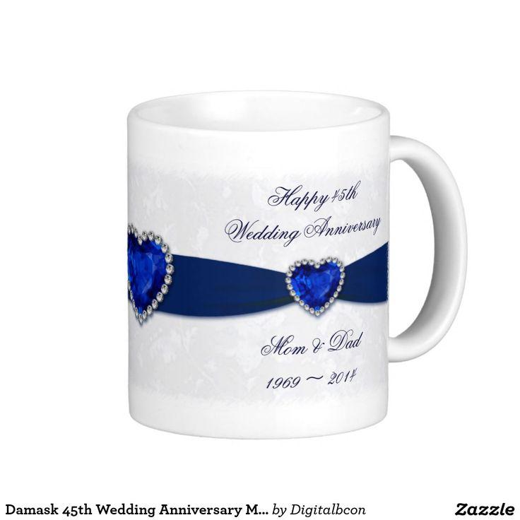 Damask 45th Wedding Anniversary Mug 75 best
