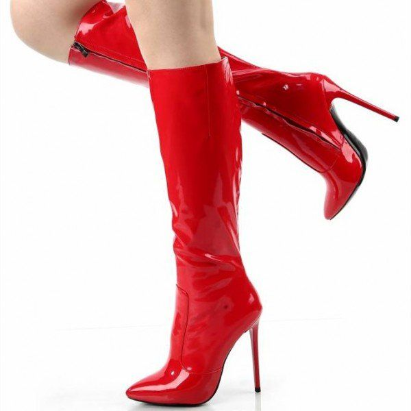 Thigh High Boots Red Pointed Toe Patent