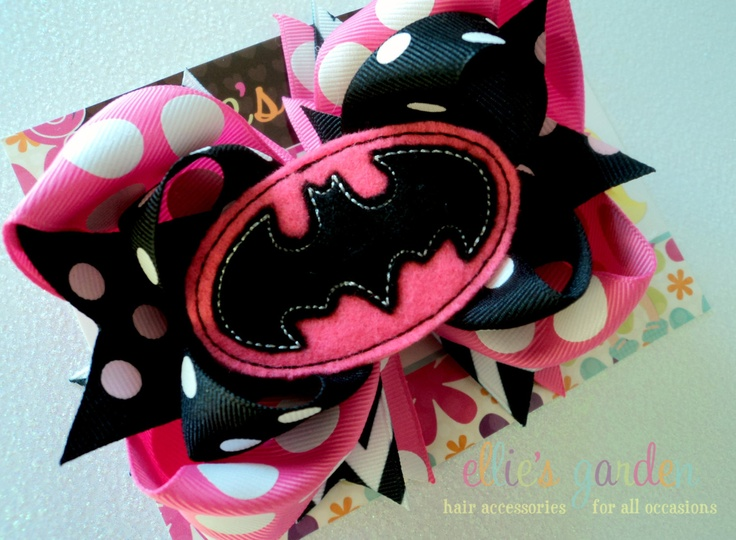 Boutique Style Embroidered Batman Birthday Bow Black Yellow or Pink. $10.99, via Etsy.