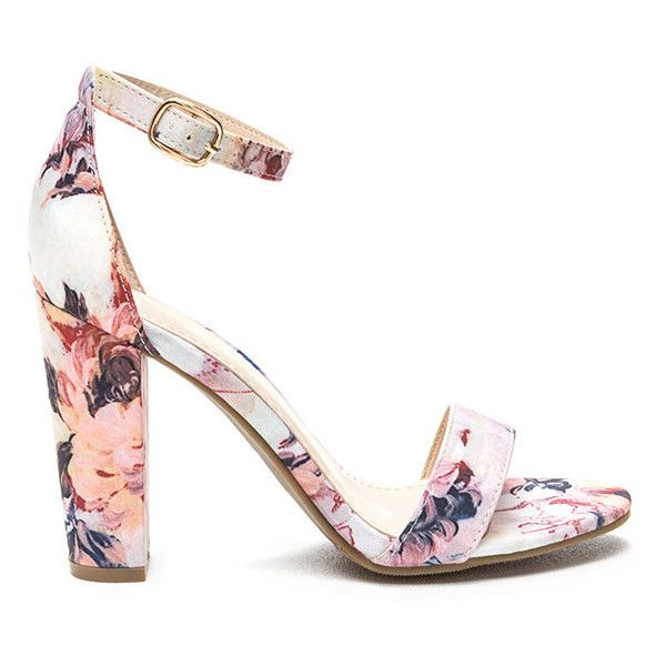 Fine Florals Strappy Chunky Heels ($17) ❤ liked on Polyvore featuring shoes, sandals, pink, ankle strap high heel sandals, pink flat sandals, floral print sandals, flat sandals and pink strappy sandals