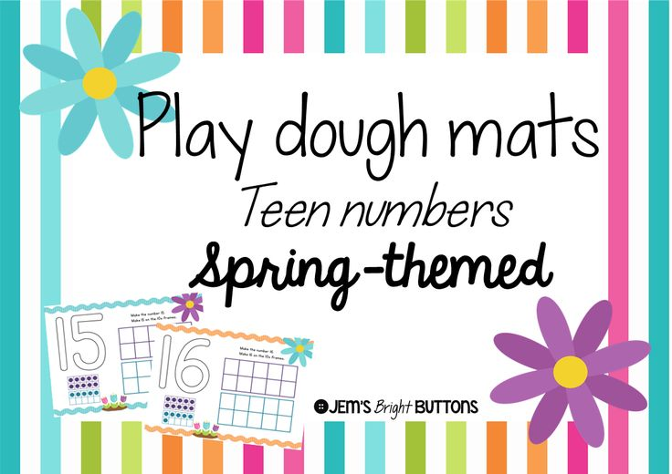 Play Dough Mats - Teen Numbers - Print, laminate, and add play dough to make a fun maths activity. You could even use the mats with counters instead of play dough. Students are asked to make the number (with play dough or counters, your choice), then make the number on a tens frame. http://designedbyteachers.com.au/marketplace/play-dough-mats-teen-numbers-spring-themed-print-font/