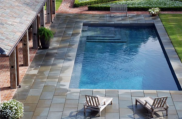 swimming pool, bluestone paving, and gardens